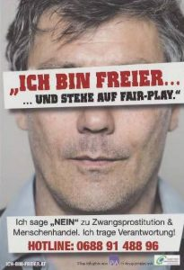 Campagne in Oostenrijk. Tekst komt neer op: Ik ben klant en wijs mensenhandel af