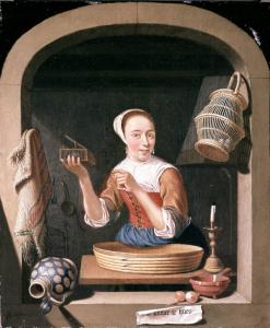 De Lichtekooi (1682) van de in Leiden geboren schilder A. Snaphaen. Op het opschrift staat Kamer te Huur. Er is een aphrodisiacum te zien en