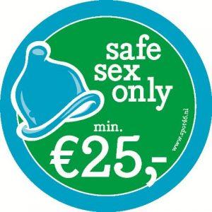Sticker van Spot 46, dienstverlening voor sekswerkers in Den Haag