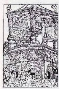 Kopergravure: een bordeel, daarboven een theater en helemaal boven: aediles