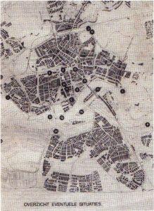 Kaart van Rotterdam met plekken voor het Eroscentrum. Bron Hazewinkel.