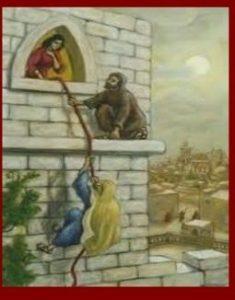Rahab, hoer uit de Bijbel (Joshua) met het Scharlaken Koord