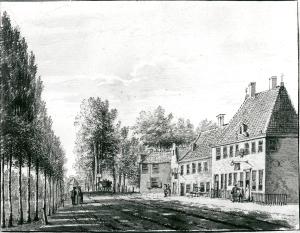 herbergen Het Wapen van Amsterdam en Rustenburg ['t Bokje. de Ooievaar] door P.van Loo (1768) (Noord-Hollands Archief)