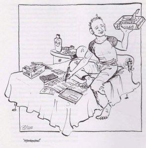 Tekening P. Urban. Een mannelijke sekswerker worstelt met bonnen